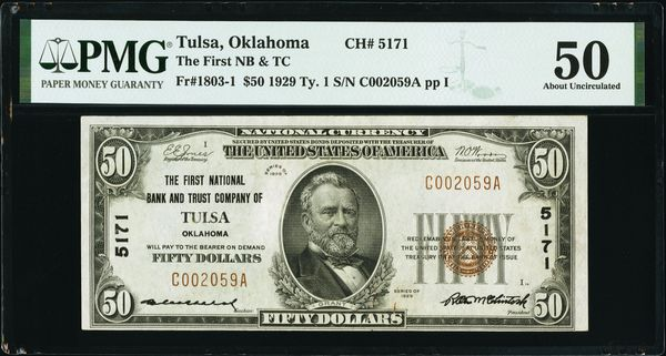 1929 $50 The First National Bank & Trust Co. Tulsa Oklahoma PMG 50 Fr.1803-1 Charter CH#5171 Item #8075141-011