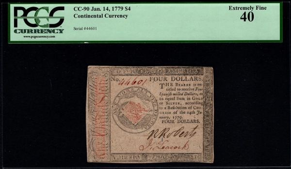 January 14, 1779 $4 Continental Currency PCGS 40 CC-90 Item #80616489