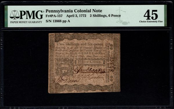 1772 Pennsylvania Colonial Currency PMG 45 PA-157 2 Shillings, 6 pence Item #1991019-004