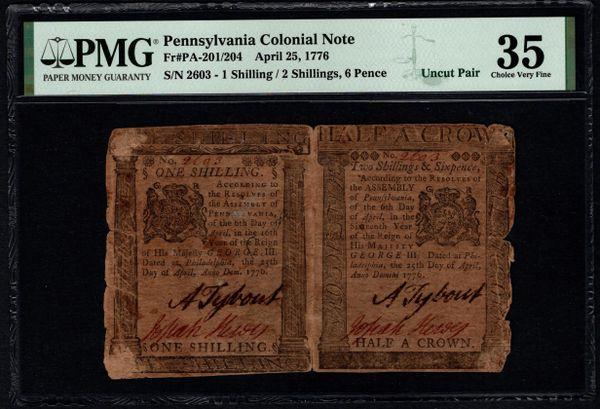 1776 Pennsylvania Colonial Currency Uncut Pair PMG 35 PA-201/204 Item #1991022-019
