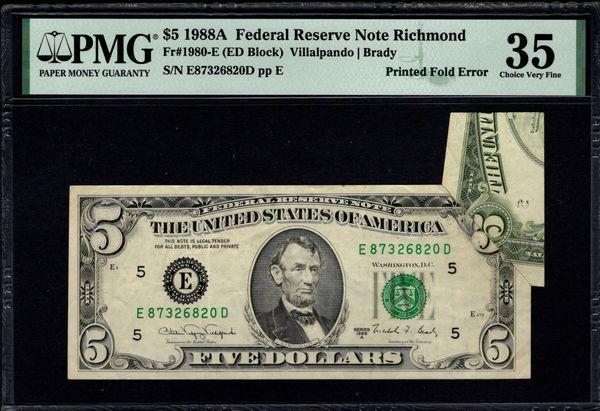 1988A $5 ERROR Printed Fold Butterfly PMG 35 Fr.1980-E Item #1992351-001