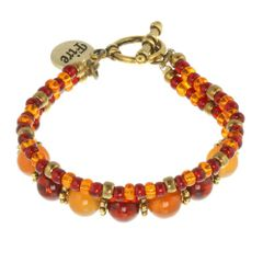 Fire Element Double Strand Toggle Bracelet