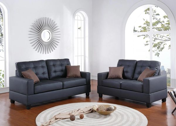 F7855 Black faux leather sofa and loveseat set