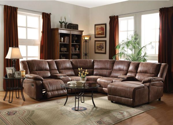 51445 Padded brown suede reclining sofa Zanthe II Sectional by acme