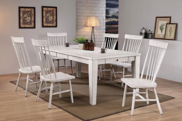 72410-72412 7 pc Adriel antique white finish wood dining table set by acme