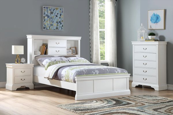 F9422t F4715 F4718 3pcs White Twin Bed Set