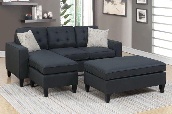 F6575 black reversible chaise sectional sofa set ottoman