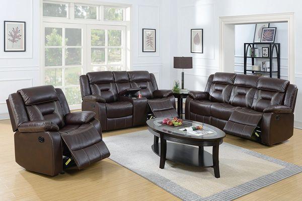 F6794-F6795-F6796 3-Pcs dark brown livingroom Set by poundex