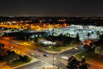 Nighttime Aerial photography on a Walmart in Chandler, AZ.  with traffic