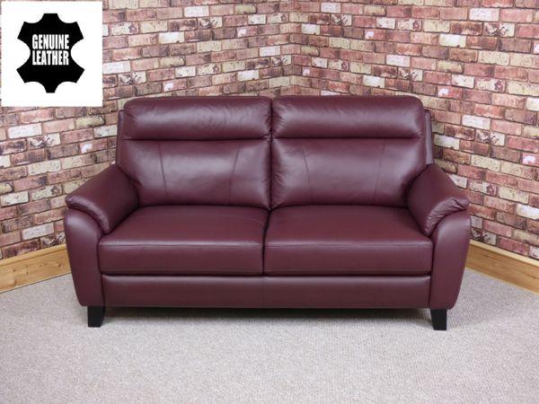 \'MODENA\' 2.5 SEATER GENUINE LEATHER SOFA IN BURGUNDY