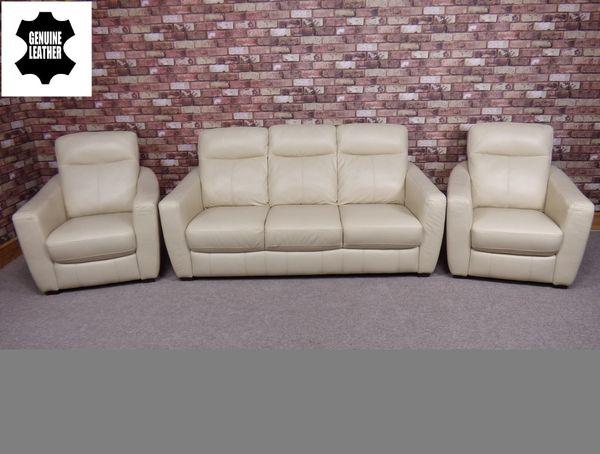 Midi 3 Seater Amp 2 Armchairs 100 Leather In Cream Colour