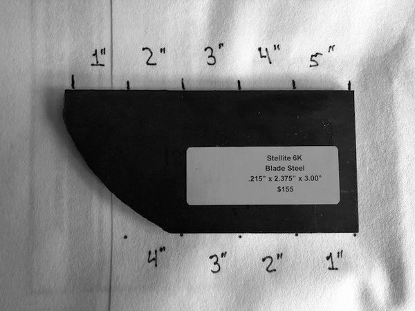 """.215"""" x 2.375"""" x 3.00"""" Stellite 6K Blade Steel"""