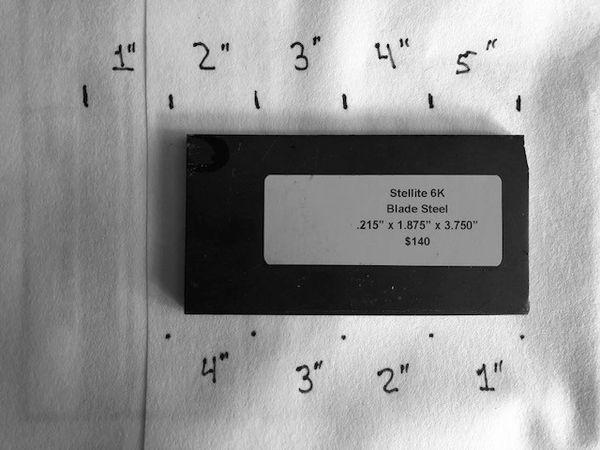 """.215"""" x 1.875"""" x 3.75"""" Stellite 6K Blade Steel"""
