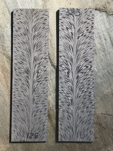 ".143"" x 1.4"" x 5.25"" Stainless Feather Damascus"