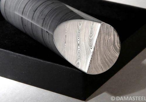 """27mm (1.06"""") dia x per inch Dense Twist Damasteel DS95X Round Bar"""
