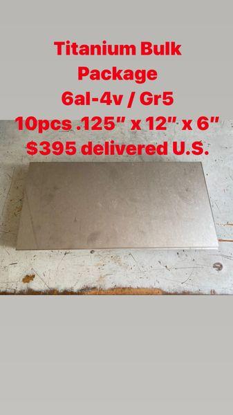 """10pcs .125"""" x 12"""" x 6"""" 6al-4v Titanium sheets"""