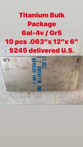 """10pcs .063"""" x 12"""" x 6"""" 6al-4v Titanium sheets"""