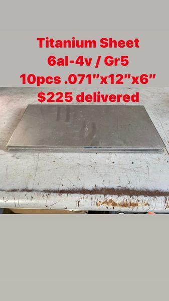 "10pcs .071"" x 12"" x 6"" 6al-4v Titanium Bulk Package"