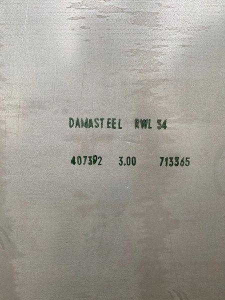 """.118"""" x 25.5"""" x 39.5"""" RWL 34 Damasteel Blade Steel"""