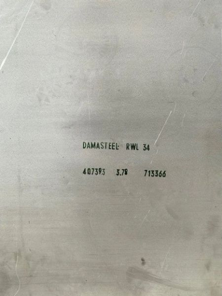 """.148"""" x 24.50"""" x 35.50"""" RWL 34 Damasteel Blade Steel"""
