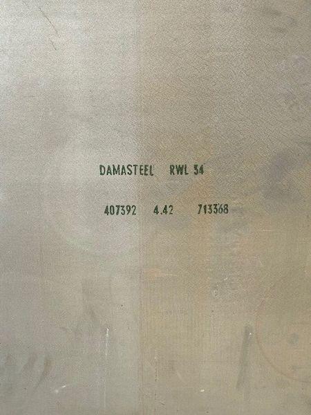 """.174"""" x 23.5"""" x 35.5"""" RWL 34 Damasteel Blade Steel"""
