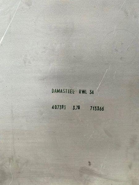 """.148"""" x 2.00"""" x 35.5"""" RWL 34 Damasteel Blade Steel"""