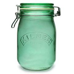 1L Kilner Flip Top Green Glass Jar