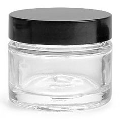 1oz Glass Jar - 1 ounce thick cosmetic jar with black cap