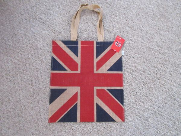 Union Jack Jute Shoulder Bag w/Strap