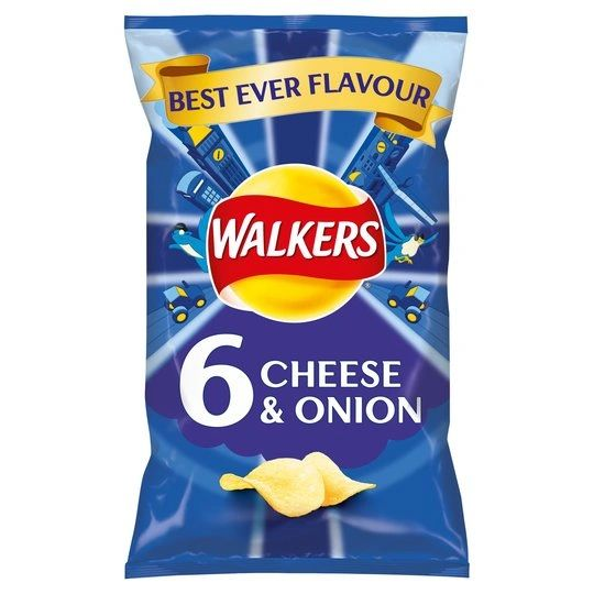 Walkers Cheese & Onion Crisps 6 X (25 g)