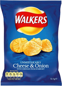 Case of Walkers Cheese & Onion (32.5g / 1.1oz) X 32