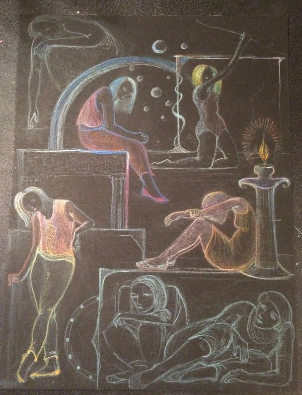 I drew this piece with colored pencil on Fabriano thick black paper. I