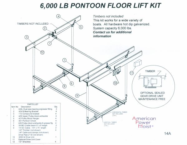 APH-602 6, 000 lb  Wood Pontoon Lift Kit - $1,978, Free Shipping - (Check  Options For UpGrades)