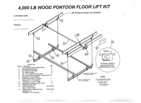 APH-401 4,000 lb. Wood Pontoon Floor Lift Kit - $1682.00 - Free Shipping  (CheckOptions for UpGrades) | American Power HoistAmerican Power Hoist