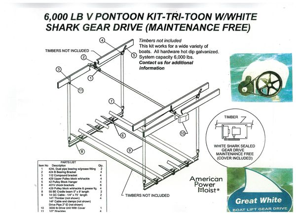 APH- 999 NEW - 6,000 LB V PONTOON KIT-TRI-TUNE W/WHITE SHARK GEAR DRIVE  (MAINTENENANCE FREE) Ready for Imediate Shipment