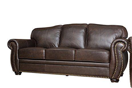 Abbyson Leather Nailhead Sofa