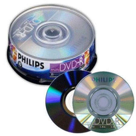 Philips DVD-R 4X 1.46Gb Mini Full Logo Silver Matte Surface Cake Box 10 Packs (DM1S4B10F/17)