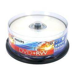 Philips DVD+RW 4X 4.7GB Full Logo Rewritable Discs (Branded) Surface Cake Box 25 Packs (DW4S4B25F/17)
