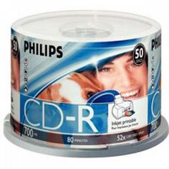 Philips CD-R 52X 80min 700MB White Inkjet Printable (Clear Hub) Surface Cake Box 50 Packs (CR7D5JB50/17)