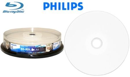 Philips BD-R 6X 50GB White Hub Inkjet Printable No Stacking Ring Surface Blu-Ray Recordable Disc Cake Box 10 Packs(BR516B10F/27)