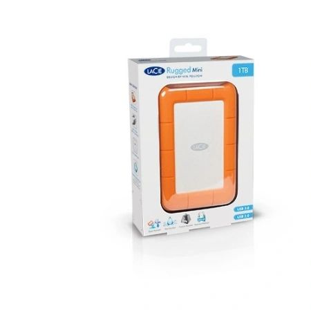 "LaCie Rugged Mini 1 TB 2.5"" External Hard Drive Orange USB3.0 (LAC301558)"