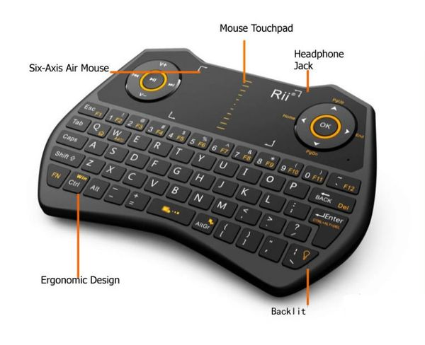RII MINI I28 2.4 GHZ WIRELESS AIR MOUSE VOICE KEYBOARD FOR LAPTOP, PC, SMART TV