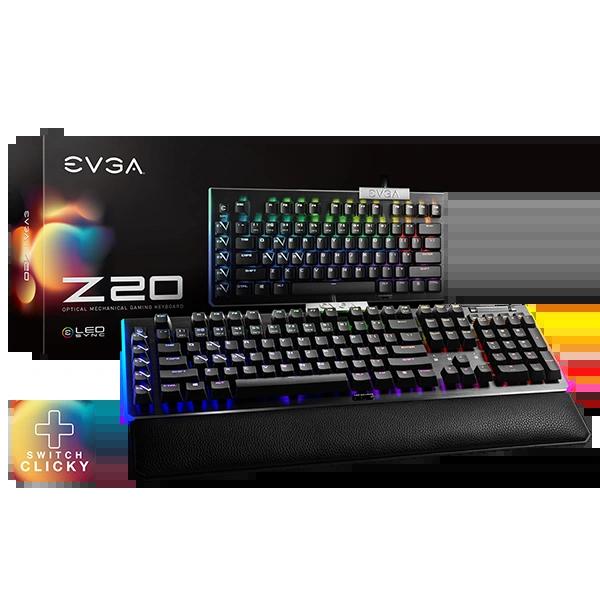 EVGA Z20 RGB Optical Mechanical Gaming Keyboard, RGB Backlit LED, Optical Mechanical Switches (Clicky) P/N: 812-W1-20US-KR