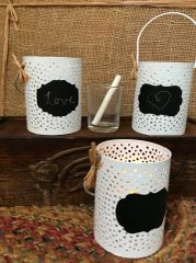 Punched Tin Chalkboard Candle Holder