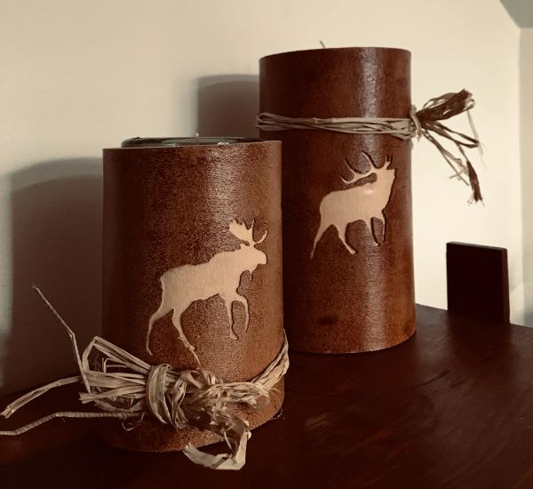 Moose and Elk Candle Holder Set