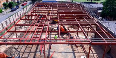 Steelwork installation, finished frame, Marish Primary School, Slough