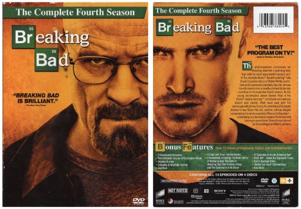 Breaking Bad - 4 disc set - fourth season-13 episodes - used Factory Original DVDs in cases with artwork-VGC