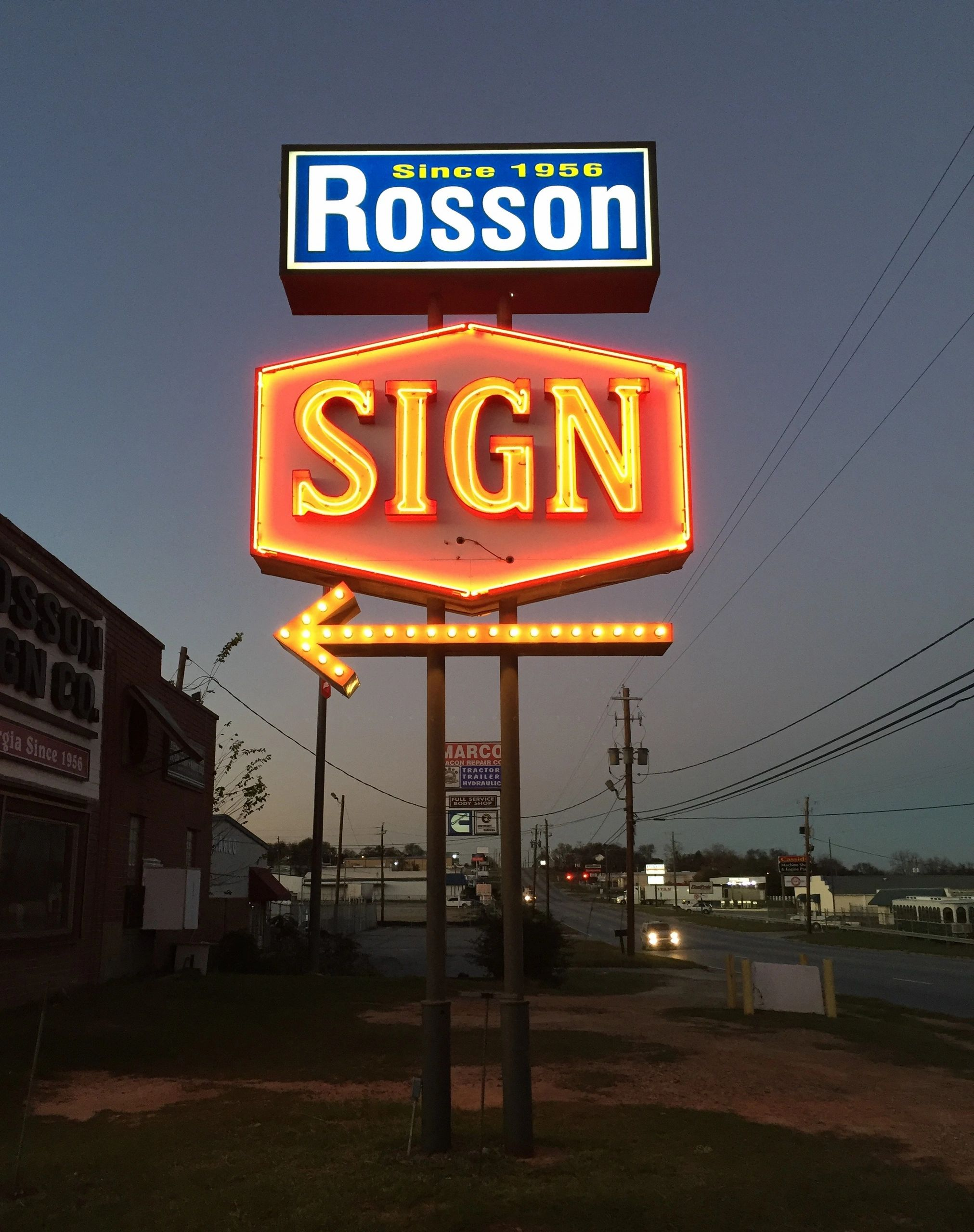 "RSC's Pylon Sign was installed in 1972 upon relocation of the business.  The original ""chasing bulb"""