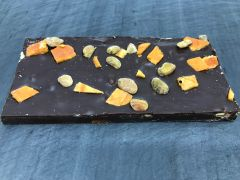 Dark Chocolate with Persimmon, Cardamom, and Pistachio Bar