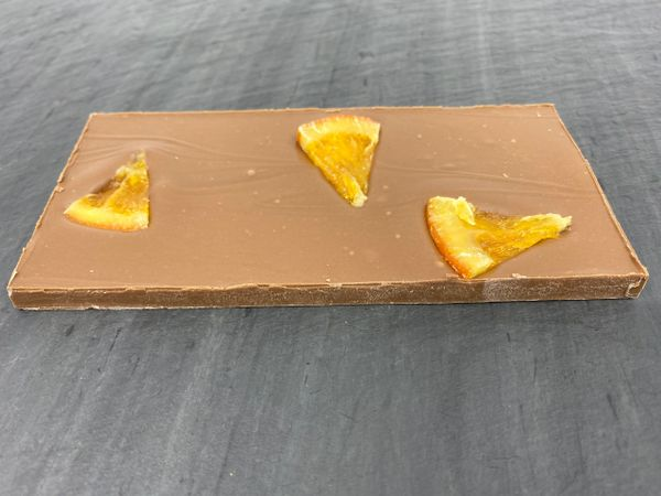 Milk Chocolate Tequila Sunrise with Candied Orange Bar